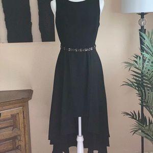 Belle Badgley Mischka black high low formal dress